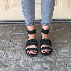 Woven Boho Black Open Toe Ankle Strap Sandals